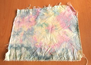タイダイ染め 実験/ タイダイ染めカップで染めたウール布