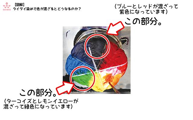 図解・混色(タイダイ染めの実例) /画像