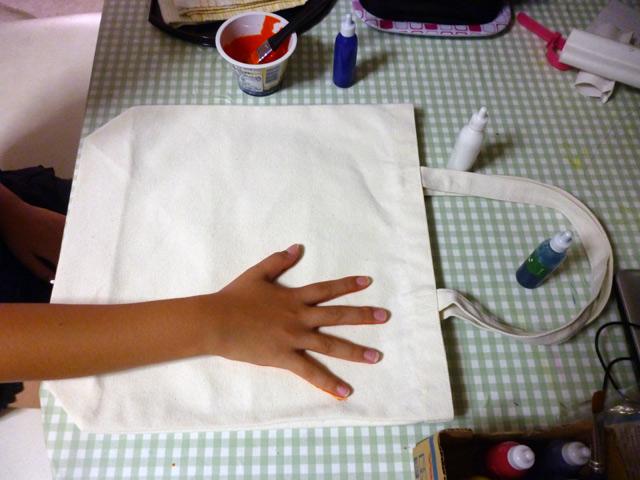 手形トート(手形をポン) / プチかけるくんを使ってオリジナルトートバッグ制作