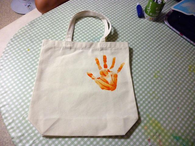 手形トート(手形完成!) / プチかけるくんを使ってオリジナルトートバッグ制作