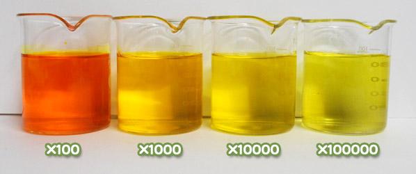 食用色素 - 食用黄色4号 タートラジンの水溶希釈例(100倍~10万倍)