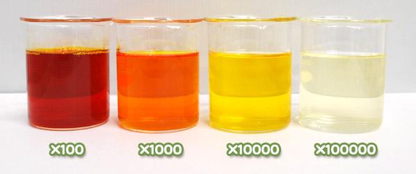 アナトー色素・アンナットーWA-20の水溶希釈例(100倍~10万倍)
