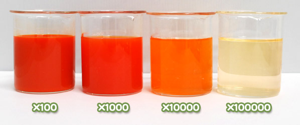 トウガラシ色素・ハイオレンジSS-44Rの水溶希釈例(100倍~10万倍)